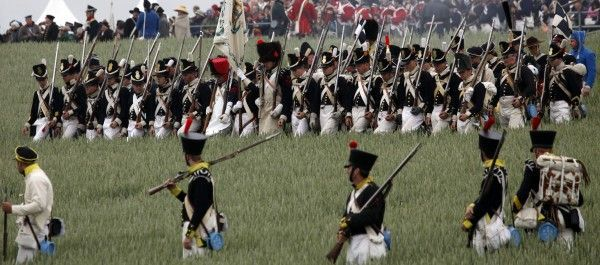 Nachgestellte Schlacht von Waterloo.