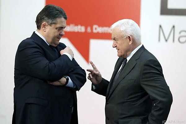Polens Ex-Premier Leszek Miller und SPD-Chef Sigmar Gabriel