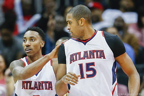Atlanta-Guard Jeff Teague (l.) mit Al Horford