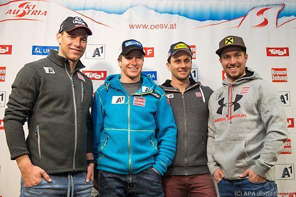 Österreichs Riesentorläufer-Quartett