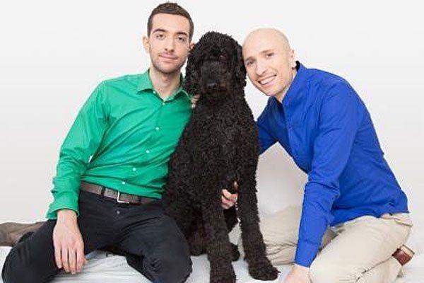 Laurent Amann und Asim Aliloski mit Hund Rio