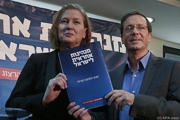 Zipi Livni und Yitzhak Herzog präsentierten gemeinsames Programm