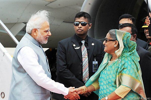 Premierministerin Sheikh Hasina mit Indiens Premierminister Narendra Modi