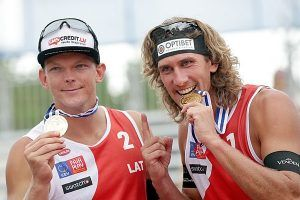Gold bei der Beach Volleyball-EM in Klagenfurt an Letten Samoilovs/Smedins