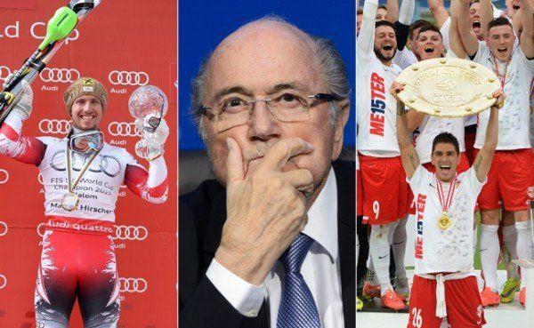 Drei Protagonisten des Sport-Jahres 2015: Marcel Hirscher, Joseph Blatter und das Fußballteam von Red Bull Salzburg.