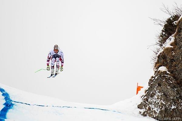 Hannes Reichelt beim Training auf der Lauberhorn-Abfahrt