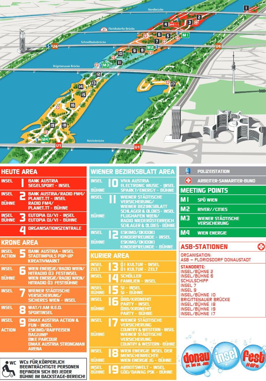 donauinselfest plan 2016 alle b 252 hnen und stationen