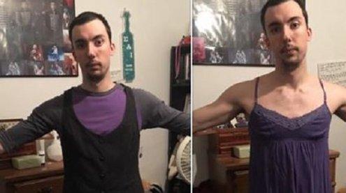 """Mann zieht Kleidung von Freundin an: """"Kleidergrößenlüge"""" der USA"""