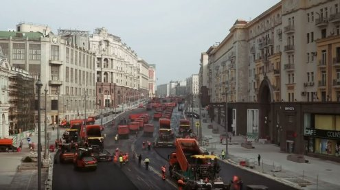 Eine Prachtstraße in Moskau wurde in Rekordzeit asphaltiert