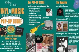 Vinyl & Music-Pop Up Store in Wien von 14. bis 19. November 2016