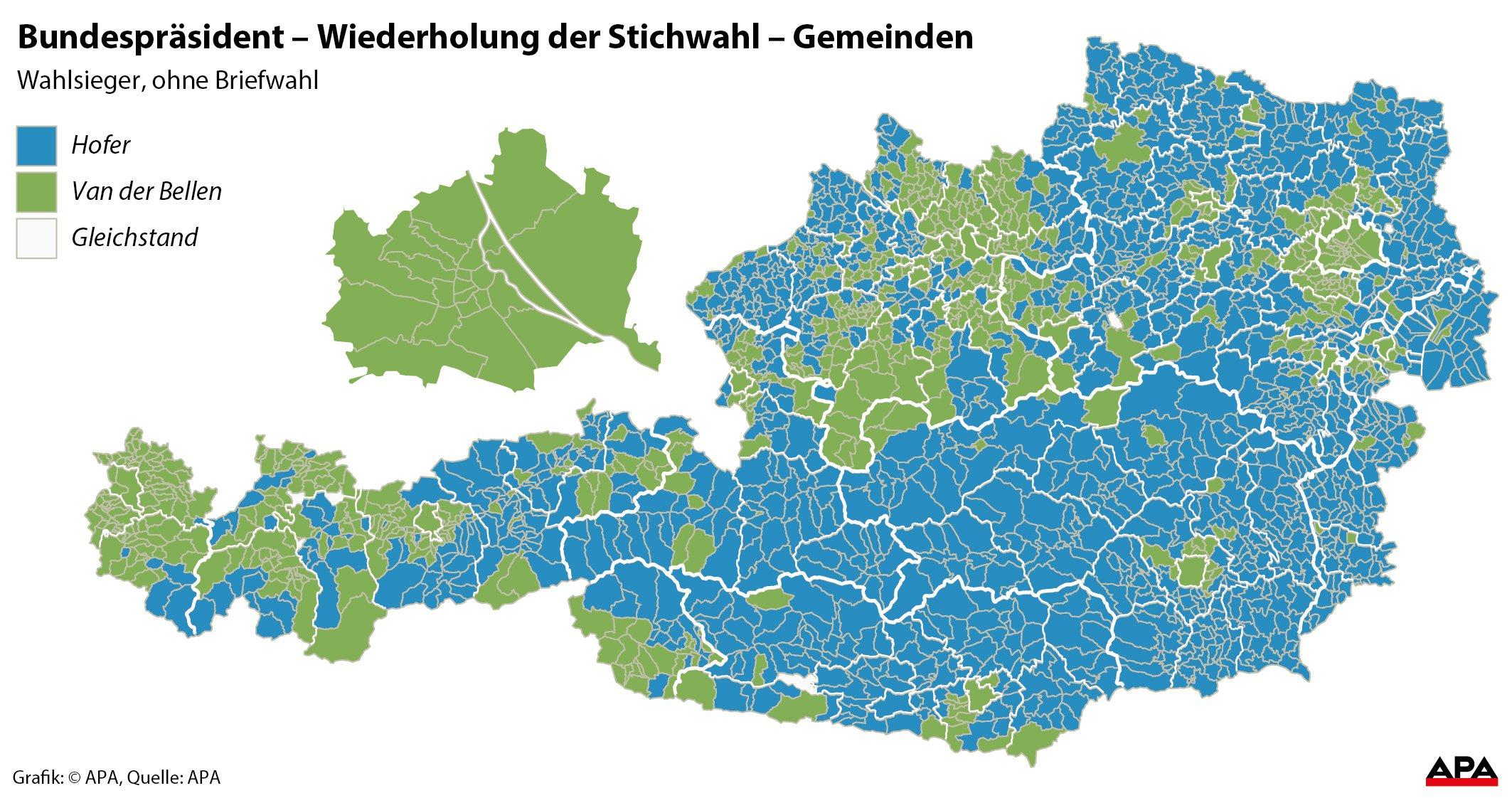 Wahlsieger der Bundespräsidentenwahl nach Gemeinden