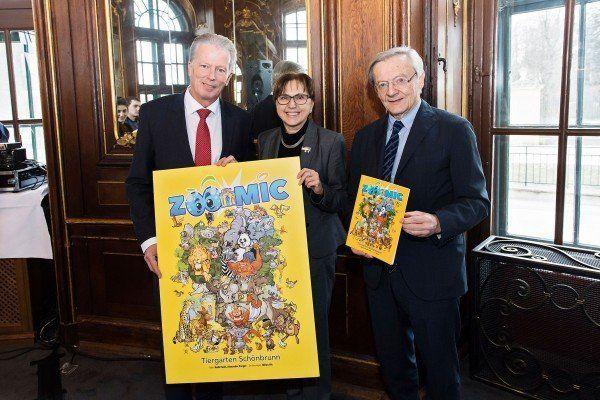 Reinhold Mitterlehner, Dagmar Schratter und Wolfgang Schüssel präsentierten das Schönbrunn-Comic