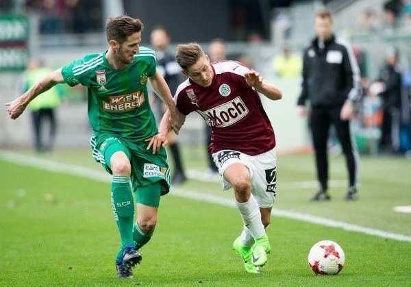 vlnr.: Christoph Schösswendter (SK Rapid Wien) und Thorsten Röcher (SV Mattersburg) beim Spiel