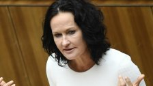 Eva Glawischnig tritt vor die Presse