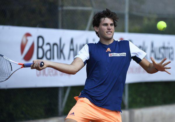 Österreichs Tennis-Ass Dominic Thiem in Action.