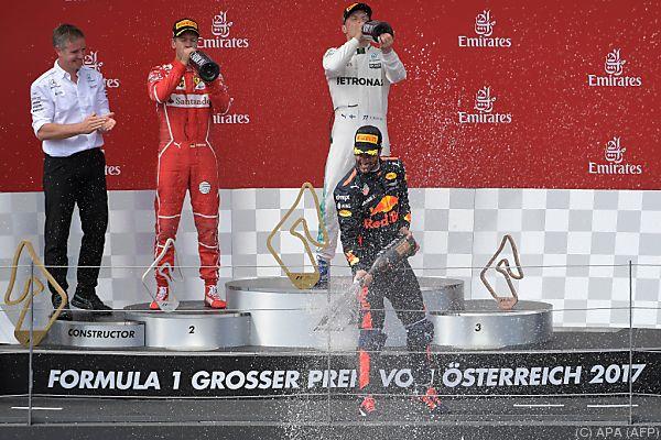 Im Schatten von Bottas und Vettel fuhr Ricciardo aufs Stockerl