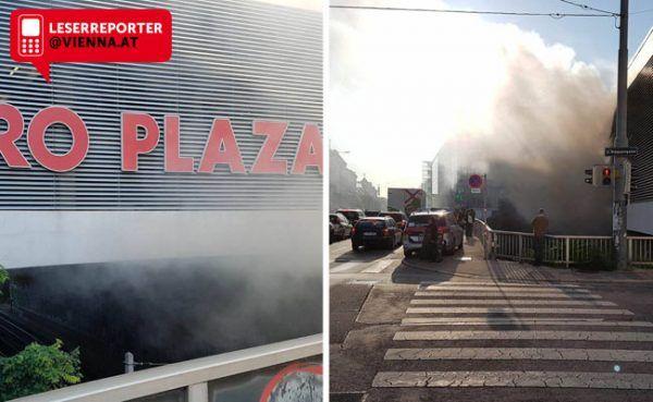 Ein Obdachlosen-Lager unterhalb des Euro Plazas in Meidling hat Feuer gefangen.