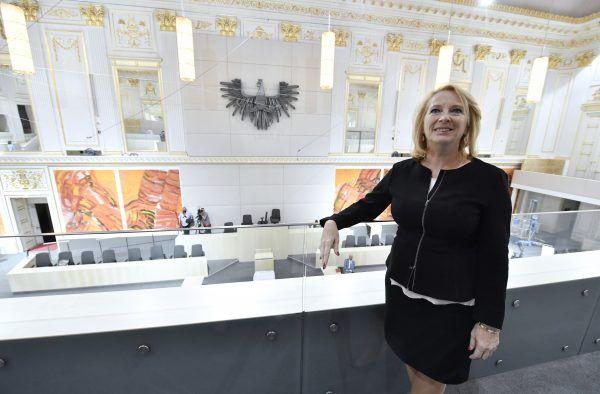 Nationalratspräsidentin Bures bei der Fertigstellung des Ersatzquartiers des Nationalrates in der Wiener Hofburg.