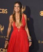 Ziemlich sexy: Heidi Klum im roten Lederkleid