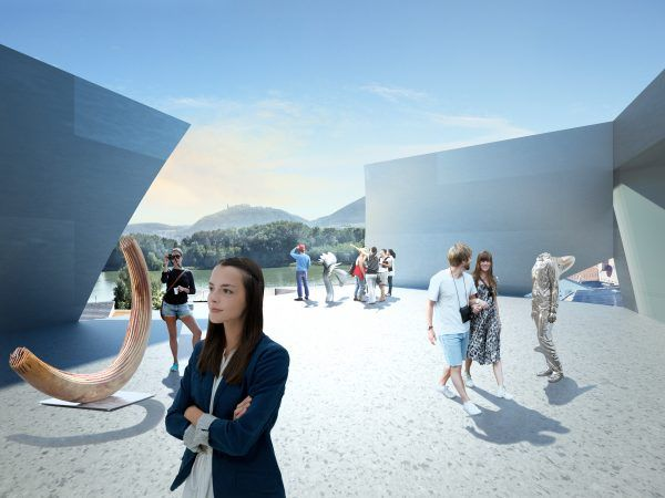 So soll die Landesgalerie Niederösterreich einmal aussehen. Beim Raiffeisentag kann man die Baustelle besichtigen.