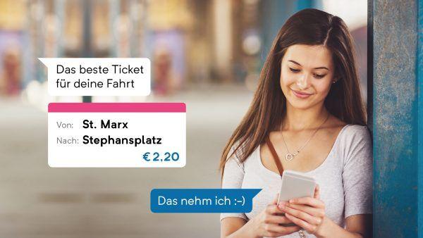 Mit der App wegfinder können Öffi-Tickets per Chat gekauft werden.