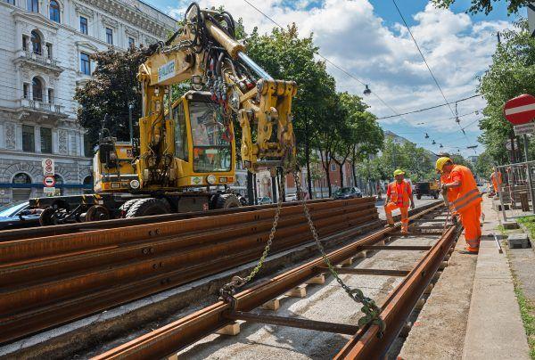 Am Schottenring finden Gleisbauarbeiten statt, die sich auf den Verkehr auswirken