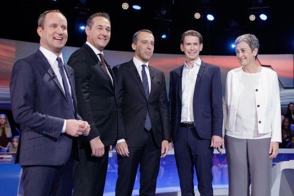 vlnr.: NEOS-Chef Matthias Strolz, FPÖ-Chef Heinz-Christian Strache, Bundeskanzler Christian Kern (SPÖ), ÖVP-Chef Sebastian Kurz und Grüne Spitzenkandidatin Ulrike Lunacek bei der ORF-Elefantenrunde