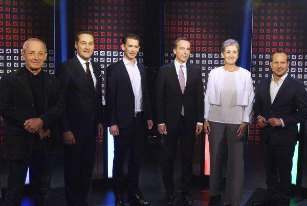 Die Spitzenkandidaten der sechs aussichtsreichsten Listen für die Nationalratswahl 2017.
