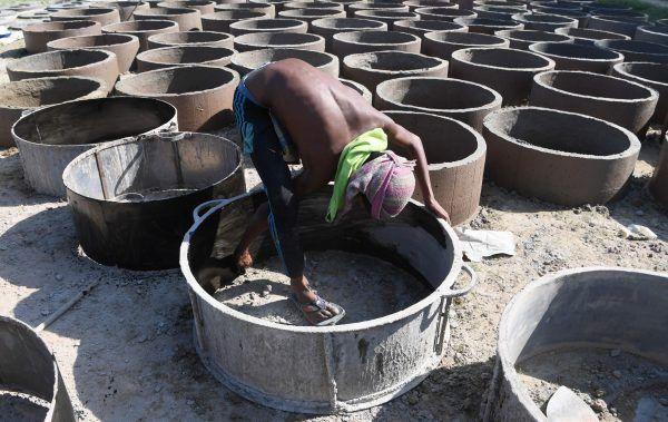 Outdoor-Toiletten in Bangladesch.