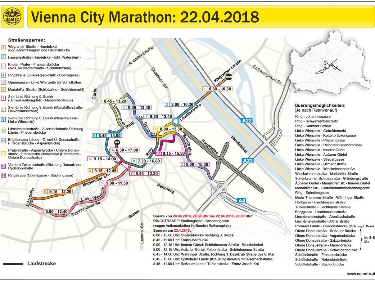 Der Vienna City Marathon Wird Zu Folgenden Zeiten In Wien Unterwegs Sein