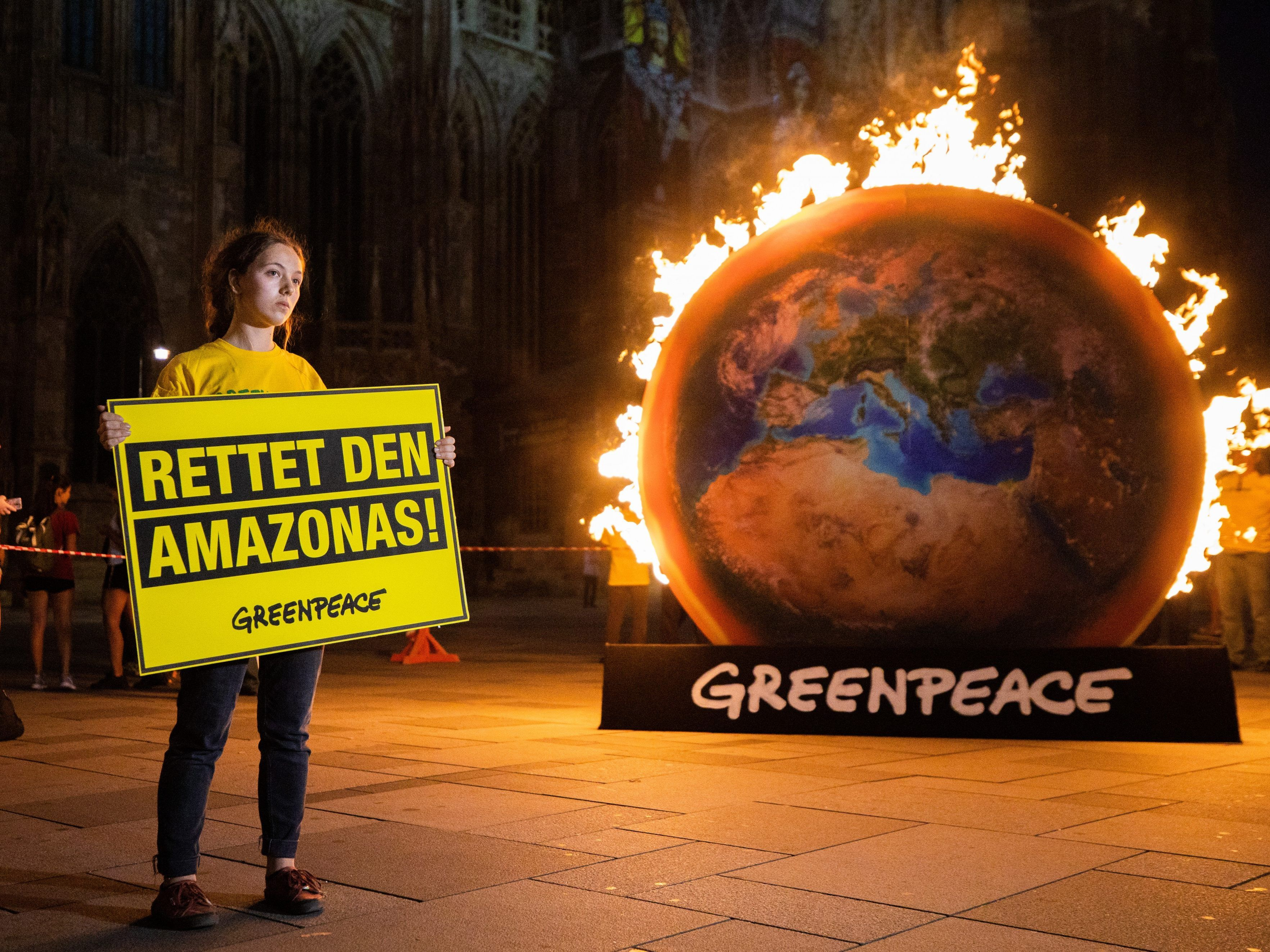 Greenpeace demonstrierte am Montagabend am Wiener Stephansplatz.