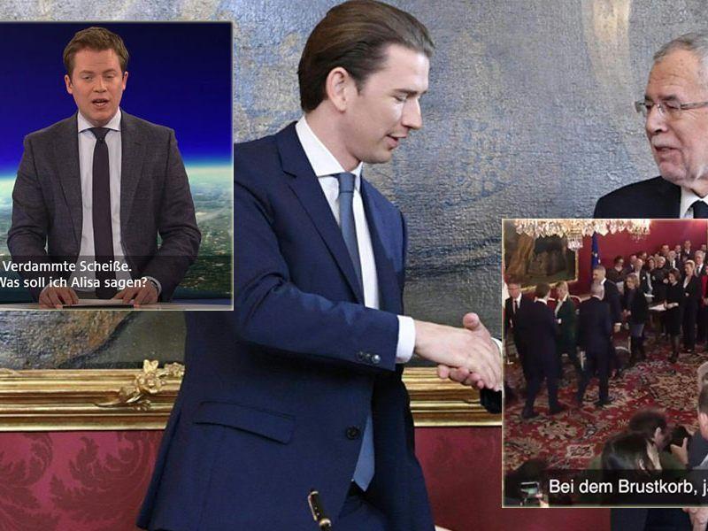 Zu der Regierungsangelobung wurden vom ORF die Untertitel von